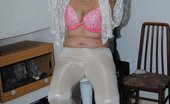 TAC Amateurs White Trousers & Lace Top 315151 Wearing White Trousers And A See Thru White Top Start My Flashing While Wearing A Bra Then Remove It To Flash Her Great