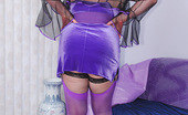TAC Amateurs Purple Velver Dress I Love This Little Purple Velvet Dress...The Feathery Neckline Is Glamorous And It Is Easy To Pull Down, Wink. A Perfect