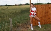 TAC Amateurs Cheer For Spunk Tracey Is A Hot Cheerleader And Is Practicing Her Routine Outside. Along Comes Freddie To Inspect Her Uniform. He Soon H