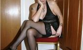 TAC Amateurs Black Lingerie I Am Loving This Sexk Silky Black Lingerie, Stockings And Cfm Heels.