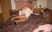 TAC Amateurs Classy Sexy Spread Sheer Tan Stockings,White Gloves And A Sexy White Slip. Yes Girdlegoddess Is Looking Very Classy And Sexy Spread Open Fo