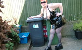 TAC Amateurs Hot In PVC Black PVC And A HOT Day Makes For Some Cheeky Pics In The Garden.