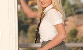 New Sensations Bree Olson Sexy School Girl Strips And Shows White Panties