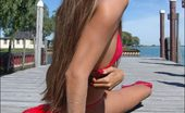 Hairy Arms Lori In Red Swimsuit