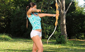 Hot Legs and Feet Eve Angel Sexy Eve Angel In Naked Barefoot Archery In The Green!