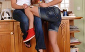 Hot Legs and Feet Kathia Nobili & Lana Sexy Blonde Foot And Leg Worshiping Kitchen Style With Food