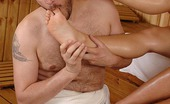 Hot Legs and Feet Denise & Honey Demon Wild Foot Fuck Session In Sauna With 2 Sexy Babes And A Dude
