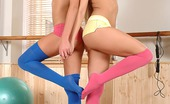 Hot Legs and Feet Cherry Kiss & Ivana Sugar Cherry Kiss & Ivana Sugar Streching Out In Thigh High Socks