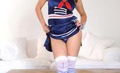 Hot Legs and Feet Katarina Czech Beauty Katarina In Striped Thigh Highs Licks Her Heels
