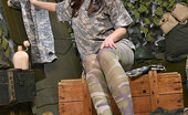 Hot Legs and Feet Sophie Lynx Sexy Soldier Sophie Lynx Teases In Her Camouflage Pantyhose