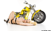 Busty Beauties Kagney Linn Karter & Busty Beauties Amazing Blond Kagney Linn Karter Poses On A Yellow Mototcycle