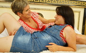 Old And Young Lesbian Hot babe having sex with a naughty mature lesbian