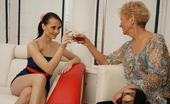 Old And Young Lesbian Three horny old and young lesbians go wild