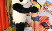 Panda Fuck Olga Tiny Brunette With Nice Tits Shagges A Panda Sex Toy