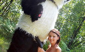 Panda Fuck Molly Skinny Cutie Fucks A Panda Sex Toy In The Outdoors