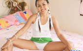 Joon Mali Green Skirt Pigtail Asian Joon Mali Pulls Panties Into Her Soft Pussy