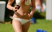 Upskirt Collection Bikini tan girls exciting exercises