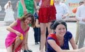 Upskirt Collection Cute upskirt girl in sexy red dress