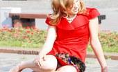 Upskirt Collection Seductive red mini dress upskirt