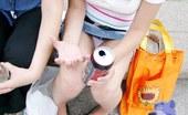 Upskirt Collection Sassy upskirt girl flashed yellow panty