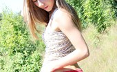 Upskirt Collection Jeans babe performs outdoor strip