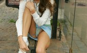 Upskirt Collection Watch cute chick in jeans skirt with white panties peeping