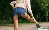 Upskirt Collection Nice doll dares go out pantieless and gets immediately shot