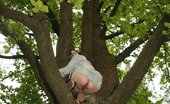 Upskirt Collection Doll in skirt climbs up the tree and has her cunt bared
