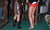 Upskirt Collection Bare titted painted girls wildly dance in small shorts