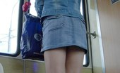 Upskirt Collection Slim lady going upstairs and getting followed by camera guy