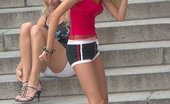 Upskirt Collection Cute blonde gets spied wearing fishnets and shorts