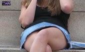 Upskirt Collection Best upskirt! Sitting cutie in denim mini voyeured