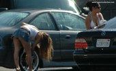 Upskirt Collection Candid upskirt, near the car. She washed car and flashed