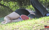 Upskirt Collection Blonde has bald pussy, in panty, up her black skirt