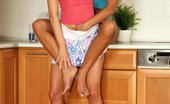 Only Cuties Jackie - Kitchen Corner0 Sizzling Honeys Kiss And Dildo Slick Wet Quims In Kitchen