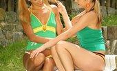 Only Cuties Andrea - Backyard Bliss0 Adventurous Cuties Nude Lick And Dildo Wet Twats In Garden