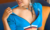 Lily Koh Blue Flasher Thai Cutie Unzips Shirt And Flashes Petite Brown Titties