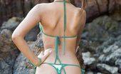 Lily Koh Hip Hop Bikini NN Slender And Sassy Asian Lily Koh Models Micro Green Bikini