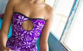 Lily Koh Pick Me Up NN Lily Koh Flashes White Cotton Panties Under A Purple Dress