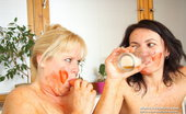 Mom Loves Mom Klaudie Fuckable Cougars Klaudie And Majda, Tantalise Each Other While Being Covered In Sauce