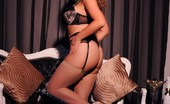 Jodie Gasson Jodie In Her Black & Tan Lingerie And Stockings