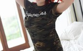Lucy V In Cammo Shirt And Gray Lingerie On The Bed