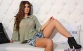 Sarah McDonald Sarah Teases In Her Green Top And Denim Shorts
