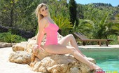 Summer St. Claire Summer In Her Pink Body Suit By The Pool