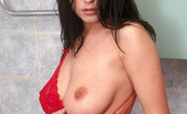 Busty Teens Elvira Stunning Hot Pretty Teen Model With Beautiful Big Soft Mammaries Poses In Red Underwear And Strips