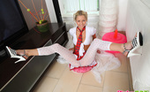 Pinky June Blue-Eyed Blonde Pinky June Rides A Dildo Pillow