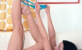 Fresh Teen Porn Cute Brunette On Blue Panty Posing And Fingering Pussy