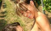 Teen Sleepover Lena And Melisa Lovely Lesbian Lena And Melisa Making Out While Working On Garden
