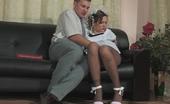 Secretary Pantyhose Mima & Peter Innocent Looking Schoolgirl In Control Top Pantyhose Getting Fucking Lesson