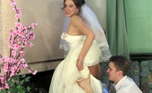 Secretary Pantyhose Jaclyn & Mike Red Hot Bride In Tan Pantyhose Ready For Wild Banging Before The Ceremony